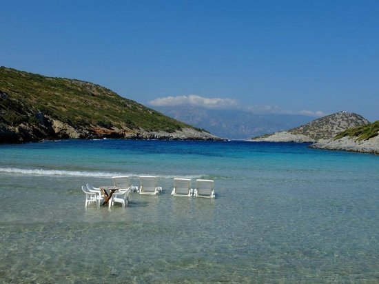 Sunbeds and umbrellas - Picture of Livadaki Beach, Samos ...