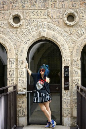 La Carmina stands under the numbered, preserved Jerusalem stone at the Mamilla Hotel.