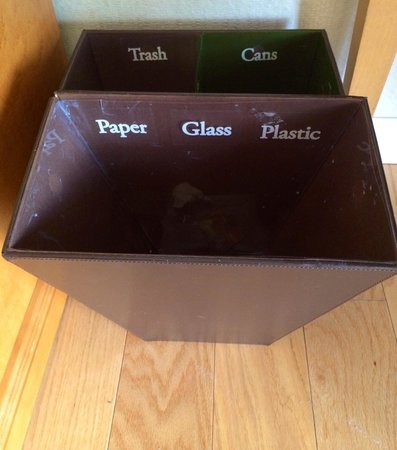 Avenue of the Arts Costa Mesa: Most efficient recycling in-room trash bins!