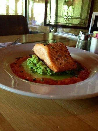 Pan seared salmon, ginger risotto, basil oil, squash puree ...
