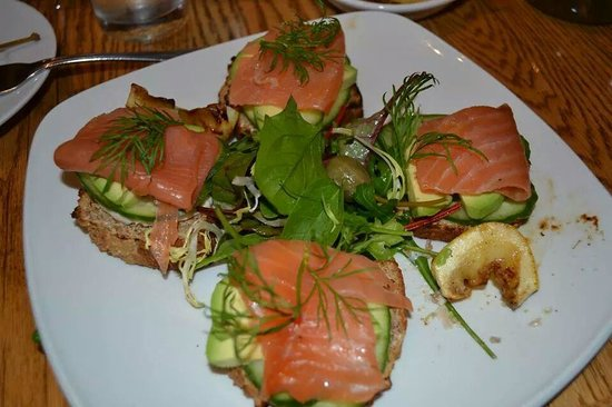 Open Faced Smoked Salmon with Avocado Sandwich - Picture of Elephant ...