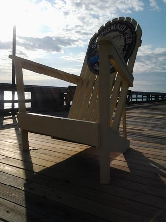 Large chair on pier for family photo springmaid pier for Myrtle beach pier fishing report