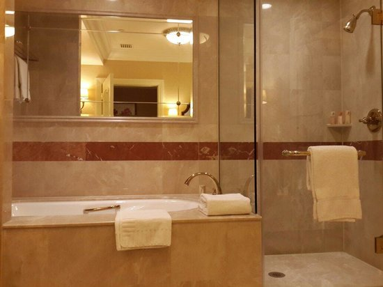 Bath tub shower area picture of the venetian macao for Venetian hotel bathroom photos