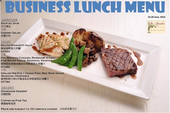 Business lunch menu for Au jardin singapore menu