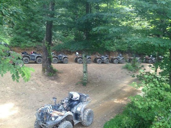 Atvs Lined Up At The Summit Picture Of Bluff Mountain