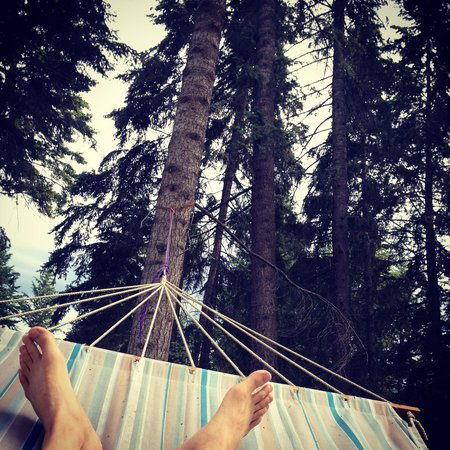 Auberge Kicking Horse B&B: Relaxing in the shade