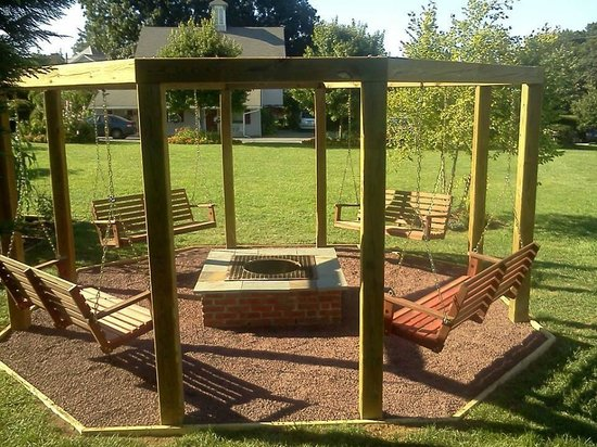 swing set fire pit they use at night for bonfires - Picture of Greystone Manor, Bird in Hand ...