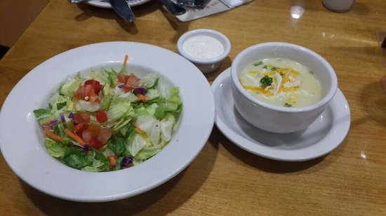Outback steakhouse photo cream of potato soup and salad