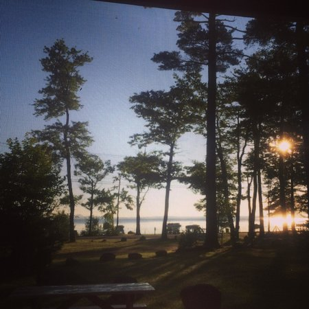 Sebago Lake Family Campground: Sunrise over Sebego Lake from our cabin porch