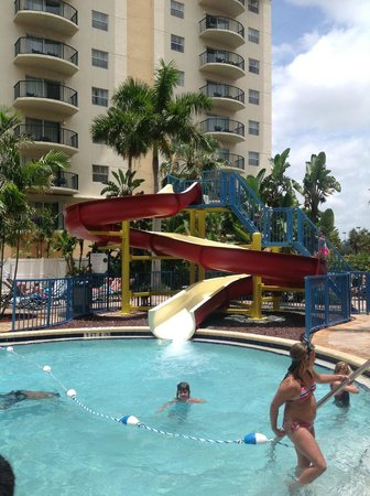 water slide at main pool area picture of wyndham palm. Black Bedroom Furniture Sets. Home Design Ideas