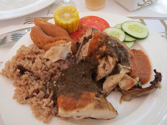 Runaway Bay, Jamaica: Jerk chicken, festival, corn, rice and peas