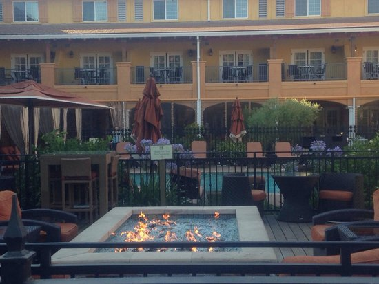 The Meritage Resort and Spa: Fire pit by the pool
