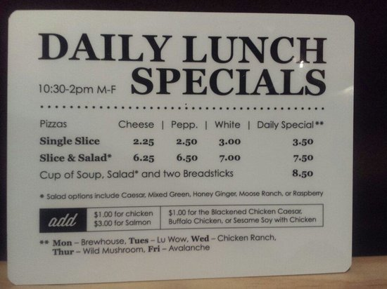 Lunch specials picture of moose 39 s tooth pub and pizzeria for Lunch specials