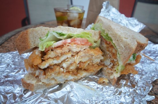 1 2 of a fish sandwich picture of art mels spicy dicy for Who has the best fish sandwich