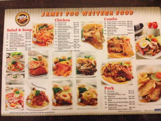 The menu picture of james foo 39 s western restaurant nxt for Cuisine western