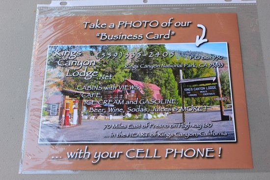 Kings Canyon Lodge: Their new business card