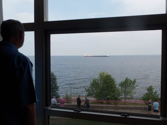 Fitger's Inn: Watching an ore carrier come in, from the privacy of our hotel room.