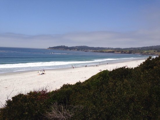 Carmel City Beach / Carmel River Beach: View to north and Pebble Beach area