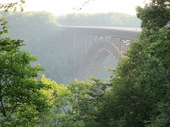New River Gorge Bridge: Misty view of bridge