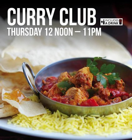 : Curry Club! Curry served with Rice, Naan Bread, Poppadoms and Mango ...