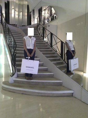 On the famous stair case rue cambon picture of chanel for Chanel locations in paris