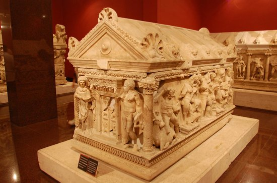 sarcophagus at the antalya archaelogical museum
