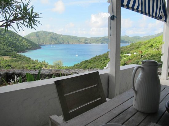 Guana Island: Our usual breakfast area with a view of the bay.