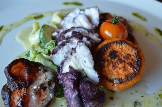 Tuam, Ireland: Fillet of Monkfish poached in red wine