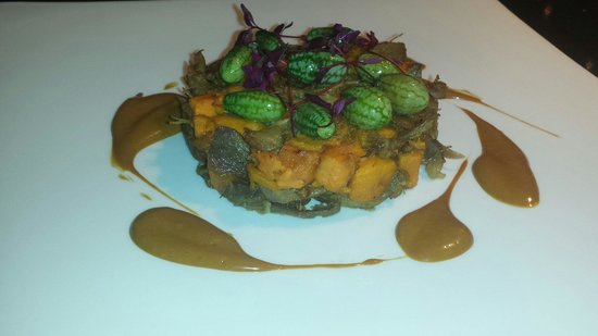 Novotel London Blackfriars: Asian spiced confit duckand sweet potato, micro melons, soya ginger emulsion.