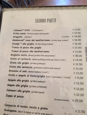 Costa Rei, Italy: Part of the menu, where one can see the difference in prices if you take a fish for two or a sin