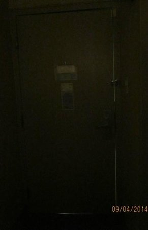 Days Inn Utica: This is the room door with the gap that you can see the light through