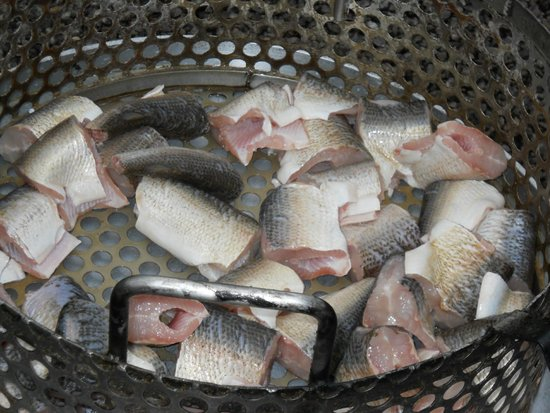 Whitefish steaks ready for the fish boil pot picture of for Door county fish boil