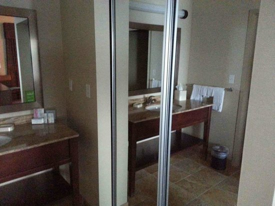 Across from bathroom large mirrored closet picture of for Closet bathroom suites