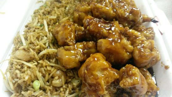 Orange Chicken with Shrimp Fried Rice - Picture of Dragon One Chinese ...
