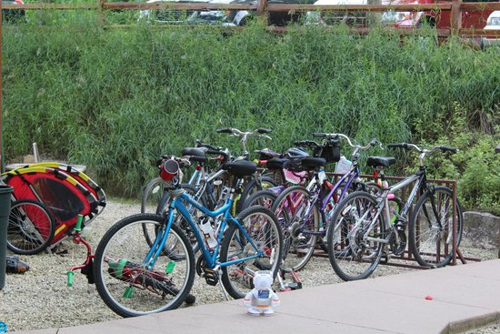 Cedar Valley Resort: Our bikes in the awesome bike rack right outside our cabin