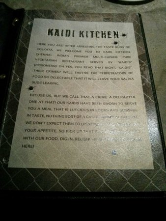 Kaidi Kitchen Menu