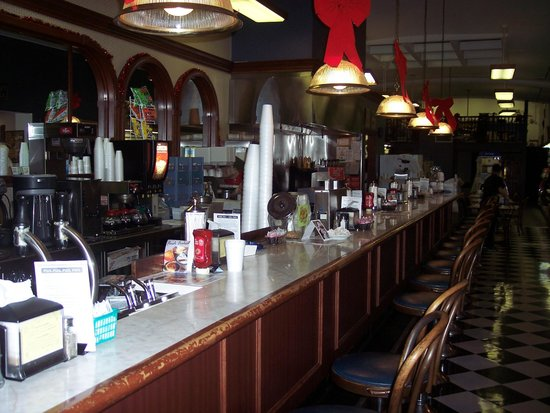 Old school soda fountain picture of corner pharmacy for Old fashioned pharmacy soda fountain