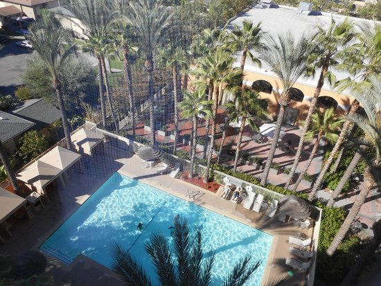 Hotel pool from our room for Garden grove pool