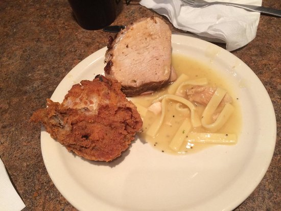 Monmouth, IL: Fried chicken, pork loin, and noodles from the Sunday lunch buffet!
