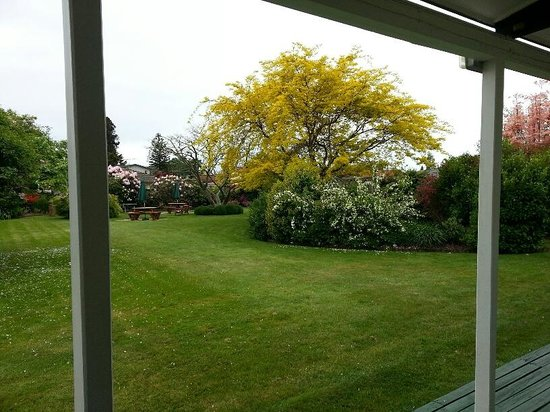 Equestrian Lodge Motel: Garden view from unit