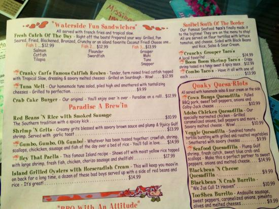 Seafood section of the menu at the island cow love the for Loves fish box menu