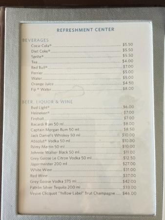 Drinks Prices Lowry Hotel