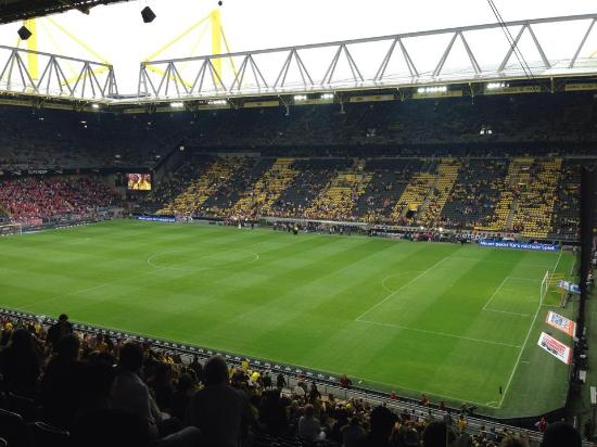 One side of the stadium picture of signal iduna park dortmund