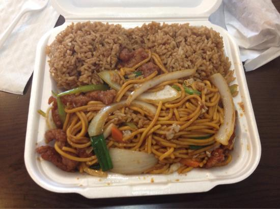 lunch special of pork lo mein and fried rice picture of grand prairie texas tripadvisor. Black Bedroom Furniture Sets. Home Design Ideas