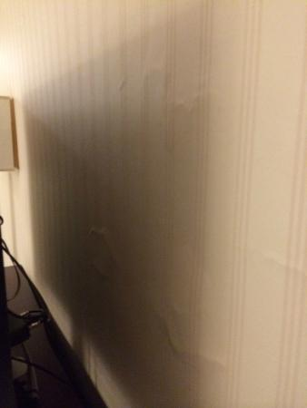 The Manhattan at Times Square Hotel: Wallpaper falling off wall in bedroom