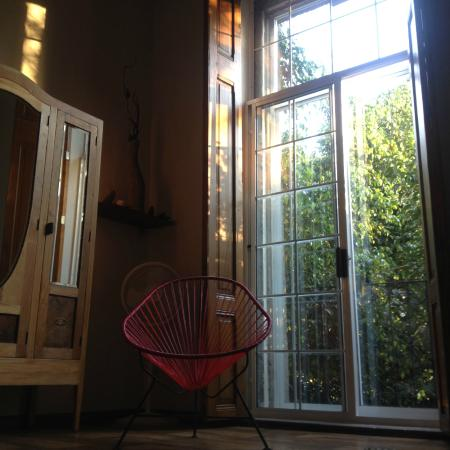 El patio 77, first eco-friendly B&B in Mexico City: One of the large windows in our room