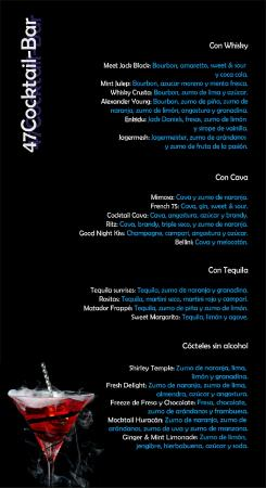 Carta de bar cocktails