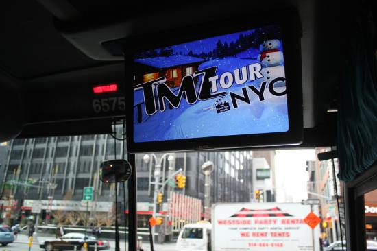 On the bus picture of tmz tour nyc new york city for Tmz tour new york city