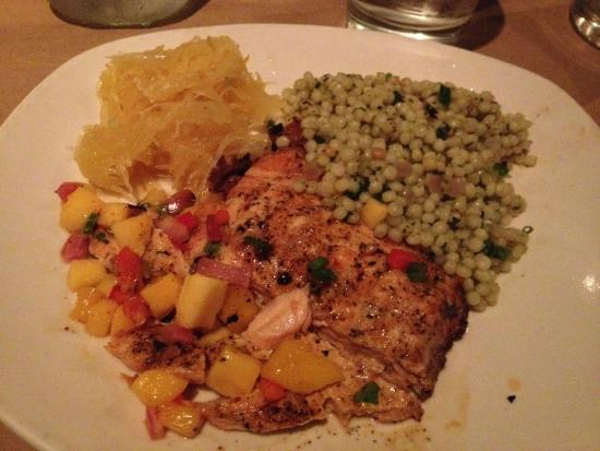 Atlantic Salmon Couscous Squash Mango Salsa Picture Of Winter Garden Florida Tripadvisor