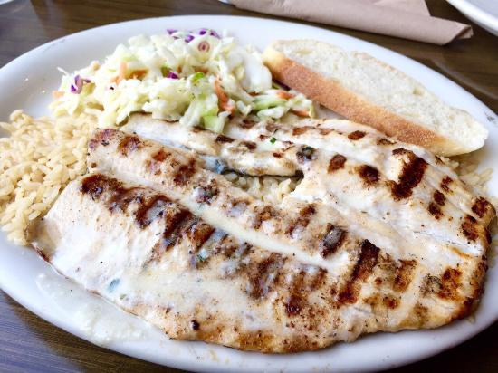 Grilled trout with garlic butter sauce brown rice and for California fish grill locations